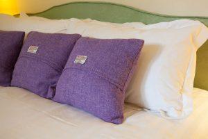 Master bedroom, Harris Tweed covered cushions