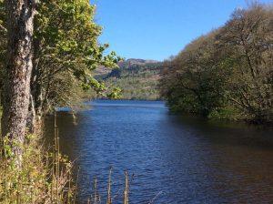 The River Tarff, near Garden Cottage, as it runs into Loch Ness.