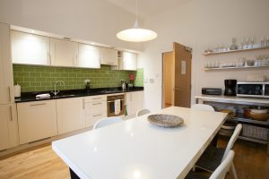 Separate kitchen and dining area
