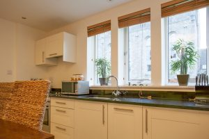 The kitchen is well equipped and easy to maneuver around