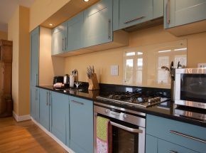 Gas stove and electric oven in the integrated kitchen
